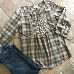 BKE by The Buckle Cotton plaid fall top